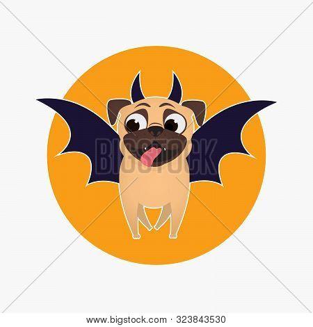 Pug Dog Dressed Up For Halloween. Bat Costume For Pet. Halloween. Pug. Character For Halloween Desig