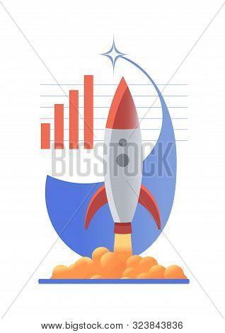 Rocket Launch Amid Growing Schedule. Vector Icon