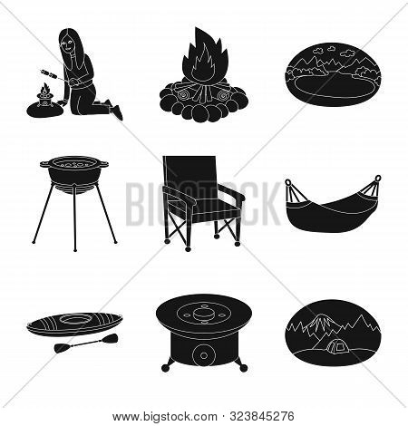 Vector Illustration Of Barbeque And Rest Symbol. Set Of Barbeque And Nature Vector Icon For Stock.