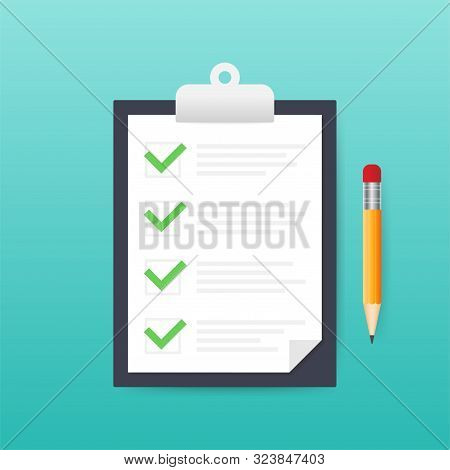 Clipboard With Checklist Icon. Clipboard With Checklist Icon For Web. Vector Illustration.