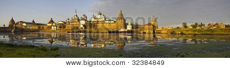Panorama View Of Monastery On Solovetsky Islands. White Sea. Russian North.