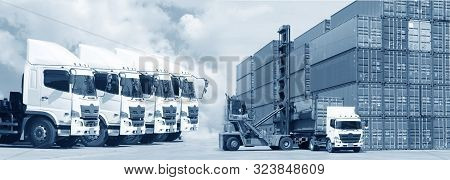 New Truck Fleet In The Container Depot As In Logistics Transportation In Blue Tone.