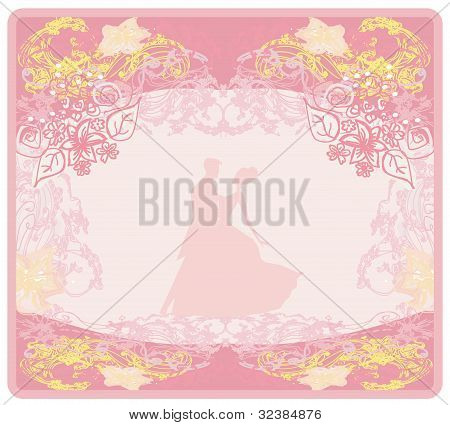 Ballroom couple dancers - invitation , vector illustration