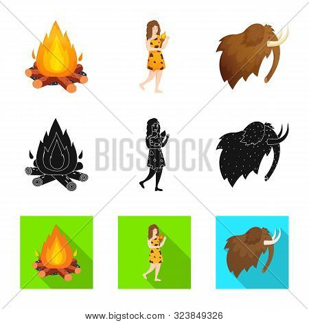 Vector Illustration Of Evolution And Neolithic Symbol. Set Of Evolution And Primeval Stock Symbol Fo