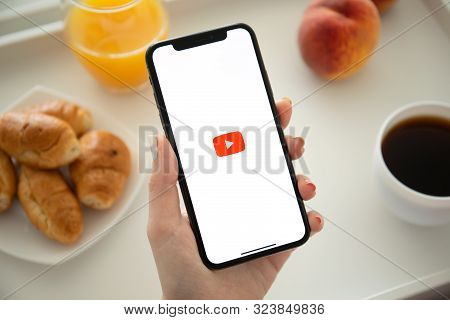 Anapa, Russia - July 23, 2019: Woman Holding Iphone X With Multinational Entertainment Company Googl