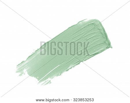 Color Corrector Stroke Isolated On White Background. Mint Freen Correcting Cream Concealer Smudge Sm