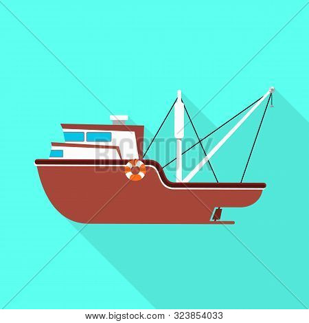 Isolated Object Of Ship And Travel Symbol. Set Of Ship And Naval Vector Icon For Stock.
