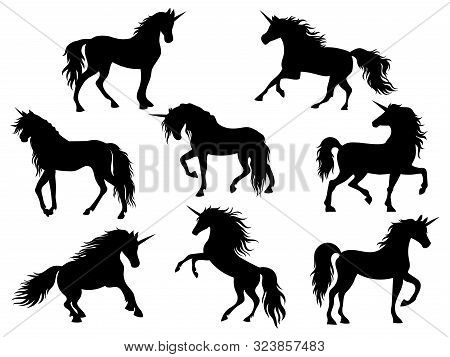 Set Of Silhouette Unicorns. Collection Of Black And White Unicorns. Vector Illustration Of Mythical