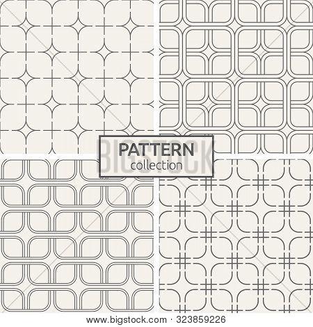 Set Of Four Seamless Patterns. Geometric Lattice Patterns. Modern Stylish Texture. Repeating Geometr