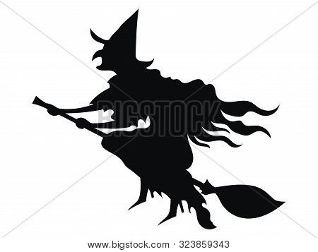Black Silhouette Of A Witch Flying On A Broomstick. Silhouette For The Halloween. Mystical Illustrat