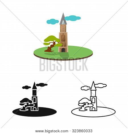 Vector Illustration Of Chapel And Vietnamese Logo. Set Of Chapel And Cathedral Vector Icon For Stock