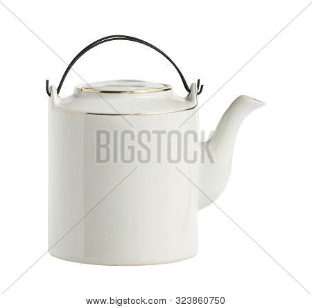 Vintage Chinese Teapot Ceramic Clay Enamel Crock (with Clipping Path) Isolated On White Background