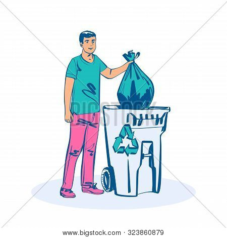 Man Throwing Trash Bags In Container. Vector Illustration Sketch Design. Isolated On White Backgroun