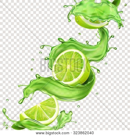 Lime Fruit In Green Juice Splash For Advertising. Vector Mojito Splashing Cocktail Or Citrus Tonic