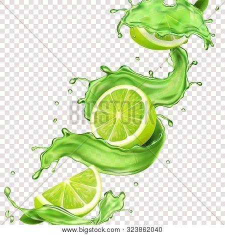 Lime Fruit In Green Juice Splash For Advertising. Vector Mojito Splashing Cocktail Or Citrus Tonic