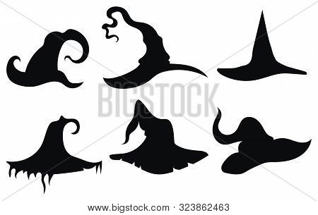 Set Of Hats Of Witches. Collection Of Headdresses Of Wizards. Silhouettes Of Hats For A Halloween. I