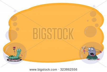 Frame For Text And Notes With Cartoon Characters Caterpillar And Stone With A Slingshot On A Yellow