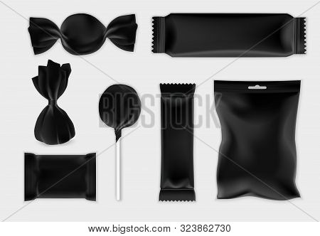 Chocolate And Candy Packaging Black Mockup Set, Vector Isolated Illustration