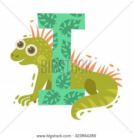 Cartoon Iguana And Letter I. Vector Illustration On A White Background.