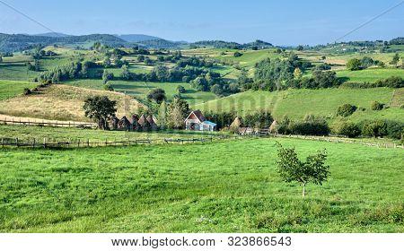 typical countryside landscape of Transylvania, Romania