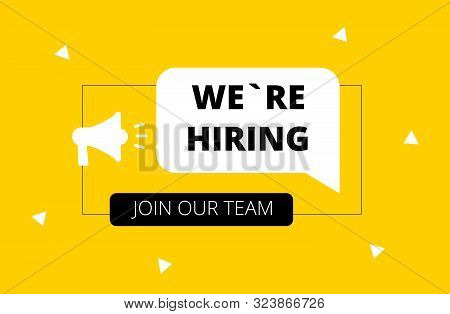 We Are Hiring. Join Our Team. Yellow Background. Hiring. Vector