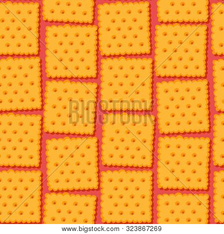 Colorful Crackers Seamless Pattern. Crispy Biscuits Vector Background.