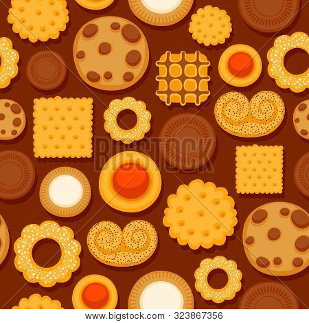 Colorful Cookies Seamless Pattern. Crispy Biscuits Vector Background.