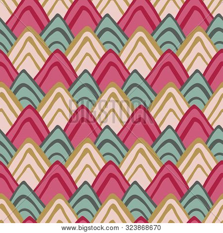 Colorful Triangle Fish Scales Squama Background, Vector Seamless Fabric Pattern, Tiled Textile Print