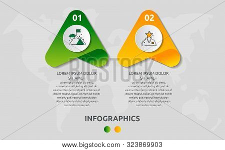 Vector Infographic Template With Triangles And Two Circles. Business Geometric Concept With 2 Option