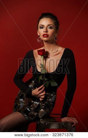 Body Length Fashion Vogue Style Portrait Of Cheeky Stylish Girl In Black Body And Metal Short Skirt