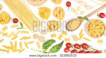 A Panorama Of Italian Pasta On A White Background. Spaghetti, Pappardelle, Orzo, Farfalle And Other