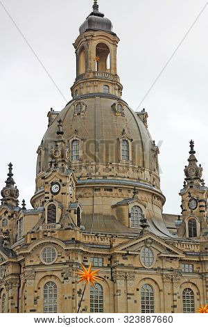 Christmass In Dresden. Frauenkirche ( Church Of Our Lady) Is A Lutheran Church, Germany.