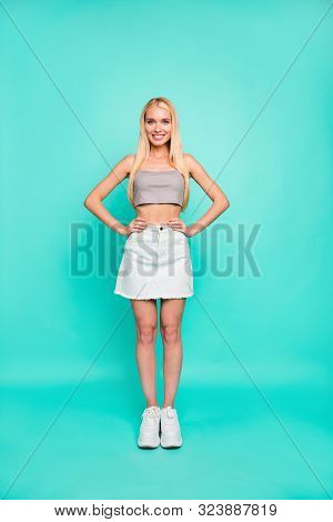 Vertical Full Length Body Size View Of Nice Attractive Lovely Gorgeous Content Cheerful Sportive Str