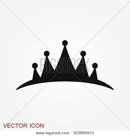 Vector Diadem icon in flat style. Royalty crown illustration pictogram. poster