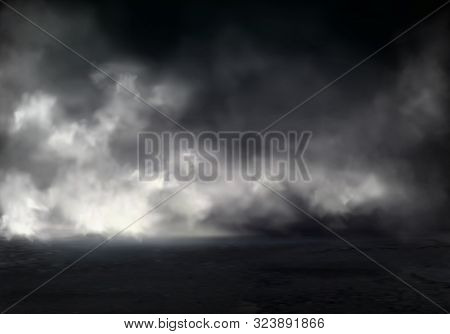 Morning Fog Or Mist On River, Smoke Or Smog Spreading At Dark Water Or Ground Surface Realistic Back