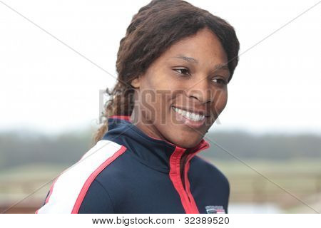 KHARKIV, UKRAINE - APRIL 19: Serena Williams talk to press during FedCup Tie between USA and Ukraine in Superior Golf & Spa Resort, Kharkiv, Ukraine at April 20, 2012