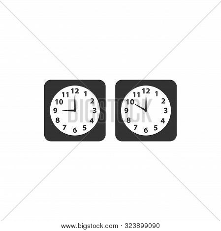 Alarm Analog Clock Black Square Vector Icon Set. Clock With Nine And Ten O Clock.