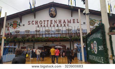 Munich, Germany, September 23, 2019: Schottenhamel Spatenbrau Festzelt In Oktoberfest 2019 In Theres