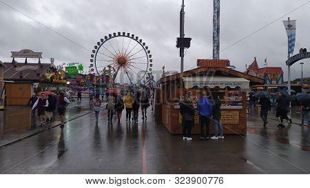 Munich, Germany, September 23, 2019: Ferris Wheel In Oktoberfest 2019 In Theresienwiese Area, Munich