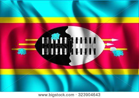 Flag Of Eswatini. Rectangular Icon. Waving Effect. Vector