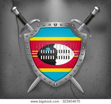 Flag Of Eswatini. The Shield With National Flag. Two Crossed Swords. Medieval Background