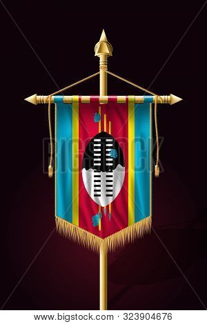 Flag Of Eswatini. Festive Vertical Banner. Wall Hangings With Gold Tassel