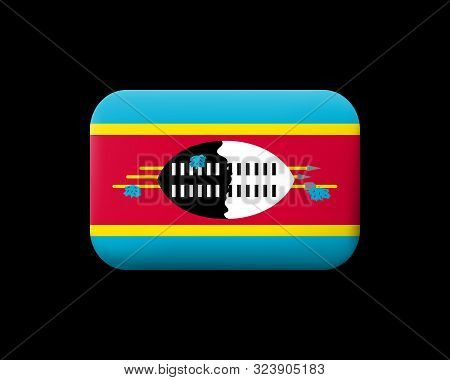 Flag Of Eswatini. Matted Vector Icon And Button. Rectangular Shape With Rounded Corners