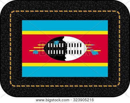 Flag Of Eswatini. Vector Icon On Black Leather Backdrop. Ratio 2:3