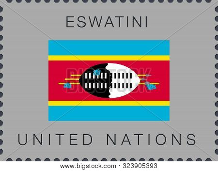 Flag Of Eswatini. Vector Sign And Icon. Postage Stamp