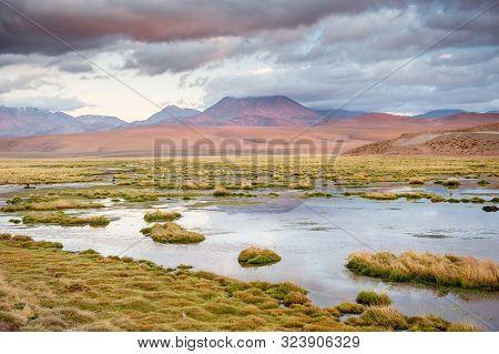 Volcanos, Lagunas And Desert Of Atacama Desert. Mountains Southern And Northern From San Pedro De At