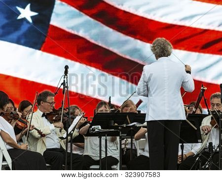 East Islip, Ny, Usa - 13 July 2019: The Long Island Concert Orchestra Performs For Free At Heckscher