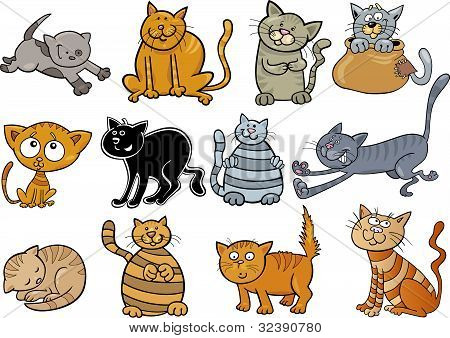cartoon illustration of funny twelve cats set poster