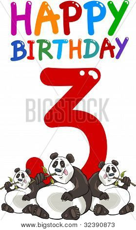 cartoon illustration design for third birthday anniversary poster