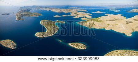 Aerial view of sea and small islands in Kornati national park, Croatia